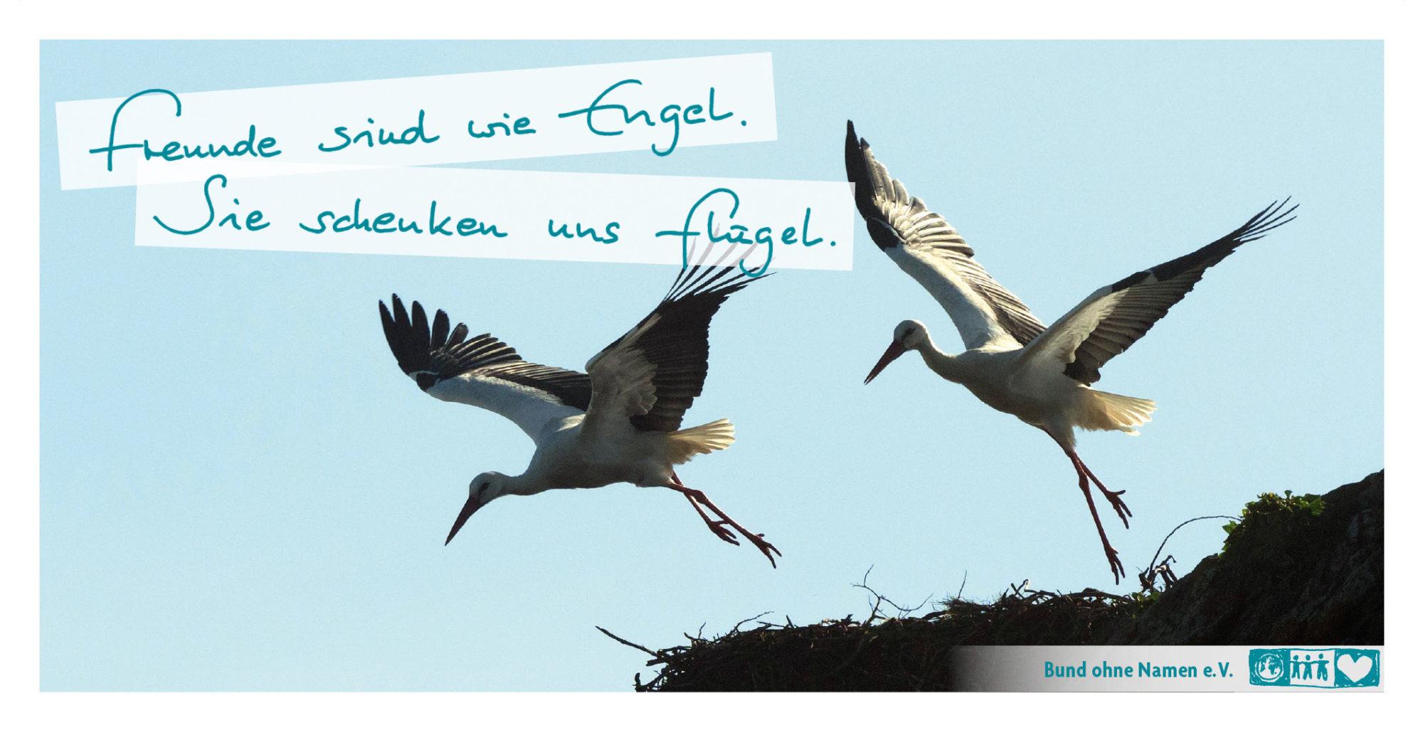 Freunde sind wie Engel. Sie schenken uns Flügel